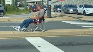 Homeless man falling asleep while asking for money