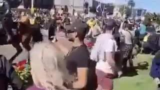 Melbourne Australia - Protesters Break Through barricades - Police Retreat