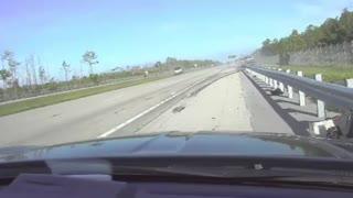Dashcam captures scary moment when truck slams into patrol car
