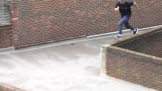 Showing Parkour skills with long jump