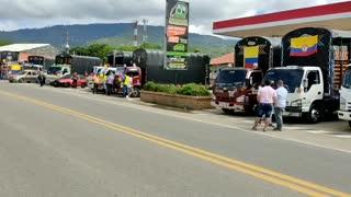 Protesta de camioneros en Santander