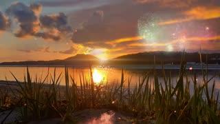 Beautiful Beach , Fire & Fireworks