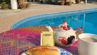 Living the dream breakfast at the pool