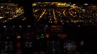 Night landing in Fortaleza filmed from the cockpit