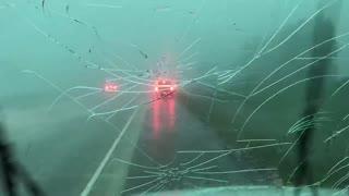 Hail Storm Wrecks Truck's Windshield