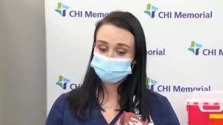 Nurse faints from covid vaccine.