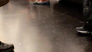 Ma'am wyd woman swings bare feet on subway seat