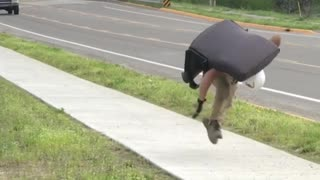Running with Chair Leads to Fall for Construction Worker