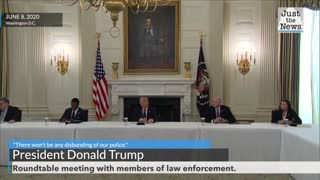 """""""There won't be any disbanding of our police,"""" says President Trump"""