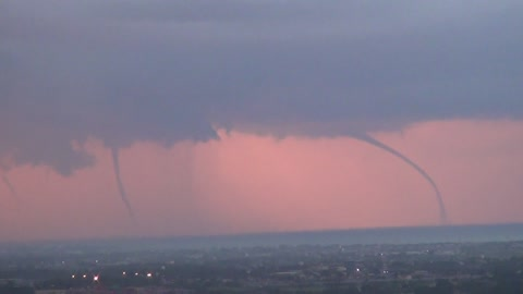 Seeing three waterspouts on the sea in the distance, it's so spectacular
