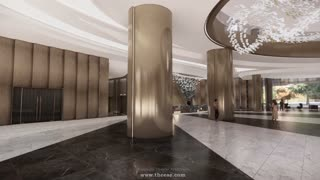 Luxury hotel lobby interior design inspired by the cave of Marble mountain.