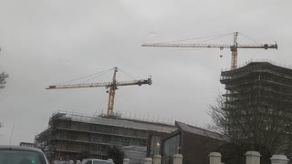 Huge Crane Spinning in Wind from Storm Ciara