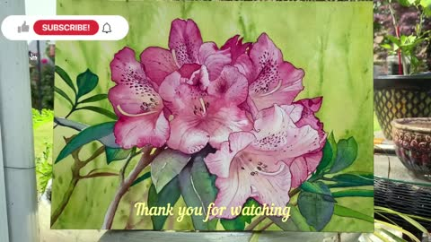 Painting Rhododendron Flower In Watercolor.