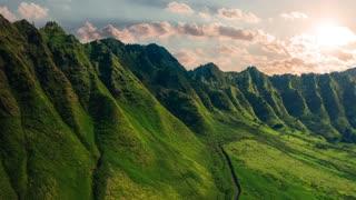 Mountain slopes covered in green vegetation