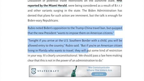 Biden Administration attempts to put travel ban on Florida