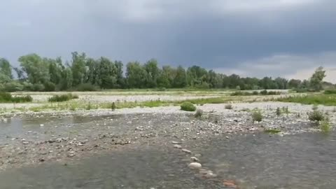 relaxing sound running water river Bergamo Italy