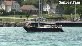 Double Jeopardy Sailboat Cruising Down St Clair River In Great Lakes