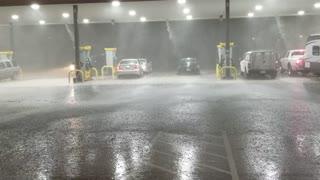 Heavy Rains and Hail Pummel Texas Truck Stop