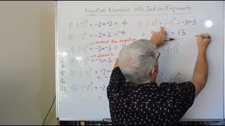 Math Negatives 08 With Indices or Exponents also called Directed Numbers Mostly for Years/Grade 7 and 8
