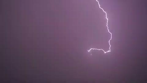 Purple lightning is beautiful in the sky