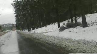Big Bear Lake .Snow cleared roads.