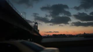 Drive through the sunset sky