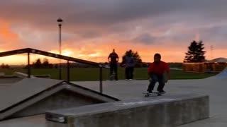Skateboarder Slams Into Rail Hard