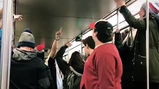 College kids party on subway after Patriots' Super Bowl win