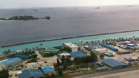 TakeOff at Male Airport with beautiful view above Male Maldives