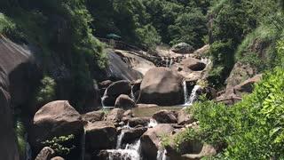 Beautiful waterfall from yellow mountain