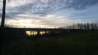 New train bridge in Steen river, alberta