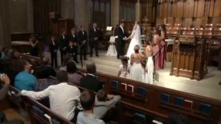 Bride Laughing during the First Kiss