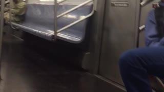 Two men asleep on train