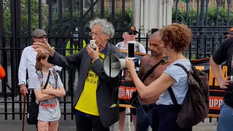Piers Corbyn Speaking Outside the Houses of Parliament