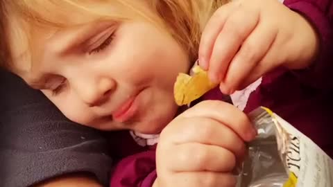 Talented toddler can eat in their sleep!