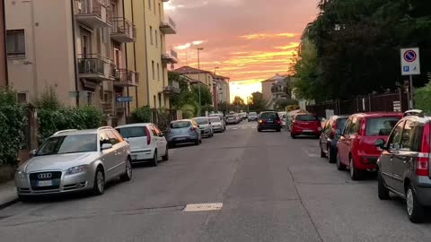 Riding a bike during sunset