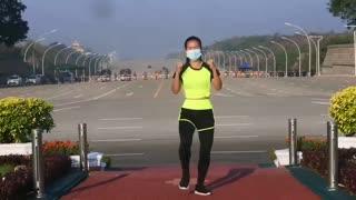 Myanmar Woman Aerobics During Military Coup in Myanmar