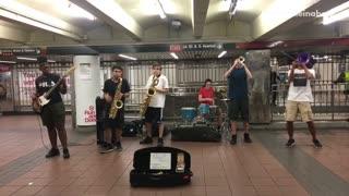 Full jazz band guys subway station
