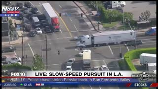 Stolen Penske Truck Police Pursuit with Dramatic Ending In Los Angeles