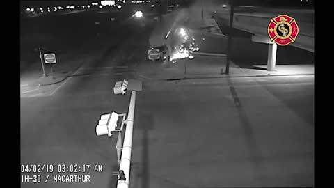 Tense milk truck crash caught on traffic cam