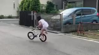 Child Girl Amazing Talent Riding Bicycle