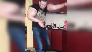 Russian Bodybuilder Popeye In Kitchen Lockdown Dance