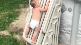 Toddler Climbs Pool Safety Ladder