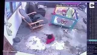 Cat Saves Baby From Falling Down The Stairs