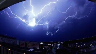 Slow Motion Lightning Strike Streaks Across Sky