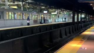 Amtrak train enter Newark Pennsylvania station