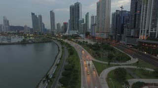 Evening city from a drone.