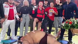 MMA FIGHT SMALL WOMAN VS HUGE MAN