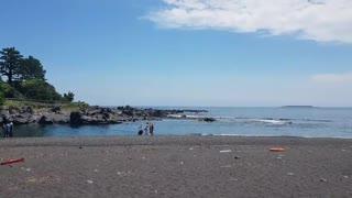 Beautiful Black Beach in Jejudo