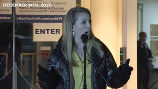 Amber Walczuk Rock Hill Rally warning about new vaccines